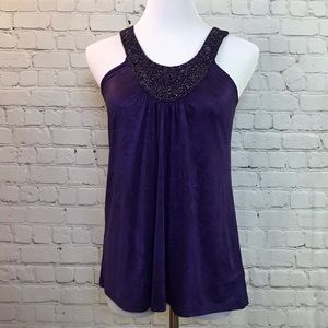 Dark Purple Tank Top with Beaded Chest